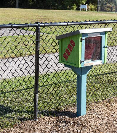 A free book case built in a local park so people can take and share books.