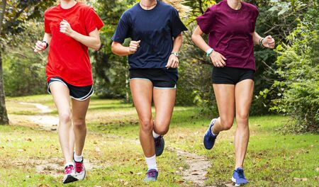 Three high school teenage girls are running together during cros country practice on a grass path in the woods. Stok Fotoğraf