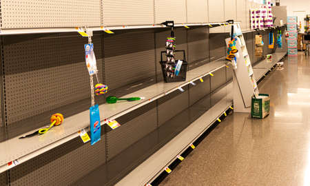 West Islip, New York, USA - 16 March 2020: A grocery store shelves are empty from people hording toilet paper and paper towels during the corona virus pandemic.