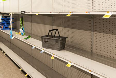 Grocery store shelves are empty due to panic buying caused for the caronavirus pandemic.
