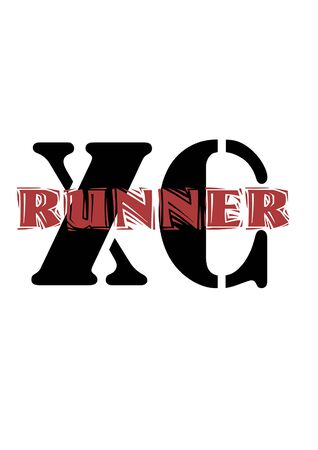 The letters X and C withthe word  Runner in red going through the middle for cross country runners.