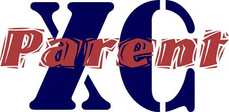 A blue X and blue C with the word parent in red going through the middle with a whte background.
