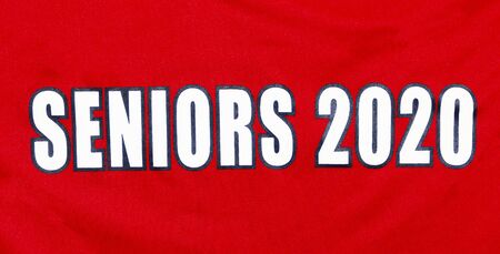 Horizontal picture of a red shirt with white text reading senior2 2020.