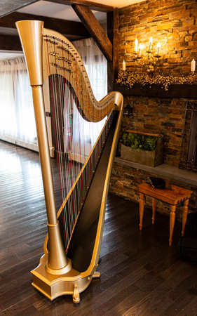 A golden harp is set up to be played at a function on a dark hardwood floor in front of a brick wall with a lit lamp by the fire place.