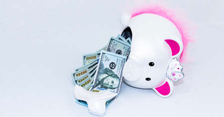 Horizontal view of a white piggy bank that has fallen over and is broken with one hundres dollar bills spilling out. Imagens