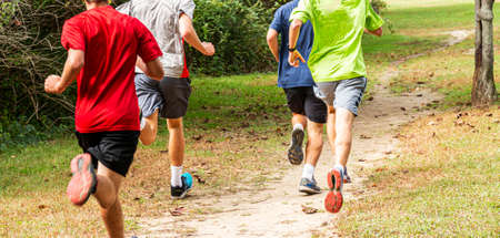 Rear view of four high school cross country boys running in a park on a dirt trail in the grass with buches on the side. Imagens