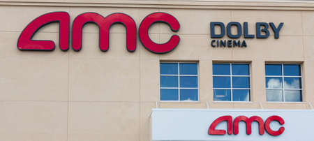East Northport, New York, USA - 1 September 2020: The outside of an AMC Dolby cinema movie theater building.