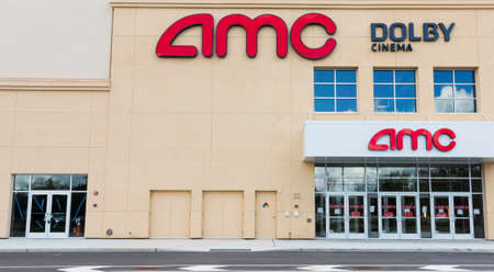 East Northport, New York, USA - 1 September 2020: An AMC movie theater building is empty due to the social distancing requirments in New York because of COVID-19 coronavirus pandemic.