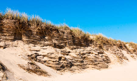 Close up of battered sand dunes on Montauk Beach New York with a deep blue sky above taken in April 2020. Imagens