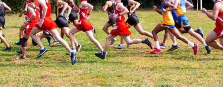 Side view of the start of a boys cross country running race on grass.