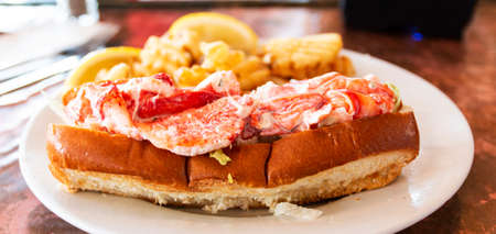 Side view of a lobster roll served with waffle fries on a white plate in a restaurant in Porland Maine.