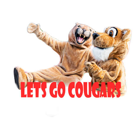 Two cougar mascots isolated on a white background reading lets go cougars
