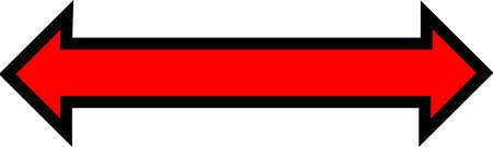 A red arrow pointing in both directions with thick black boarder. Stock Photo