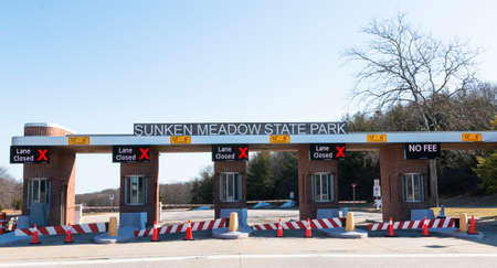 Kings Park, New York, USA - 13 March 2021: The new toll booth at the enterance of Sunken Meadow State Park with lanes closed charging no fee. Editorial