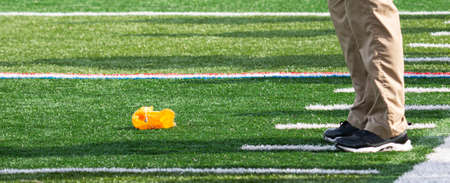 Football official throws the yellow flag on the ground in front of the heach coaches feet.