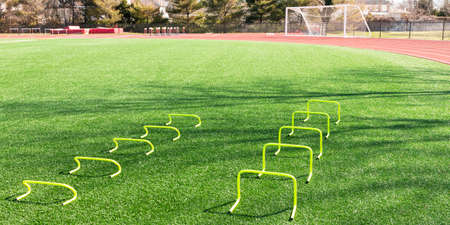 Two sizes of yellow mini banana hurdles set up on a green turf field for speed and agility practice.