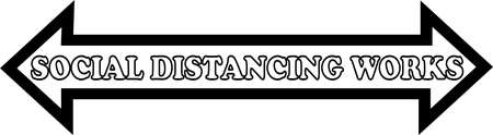 A white arrow with a black boarder has the phrase social distancing works written in white with a black outling in side.