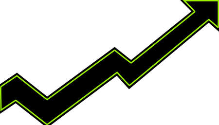 A black arrow with bright green boarder moving higher to the right while going down and up to show growth over time.