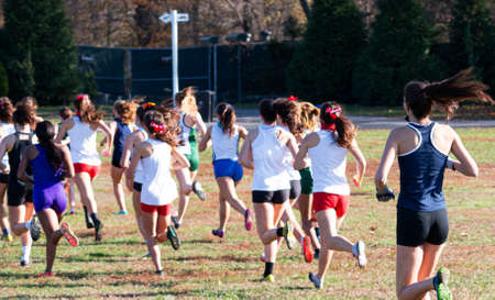 Rear view of high school girls racing in a cross country race across the grass at VanCortlandt park heading to the hills.