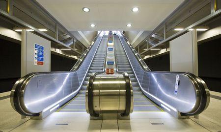 downstairs: Escalator Stock Photo