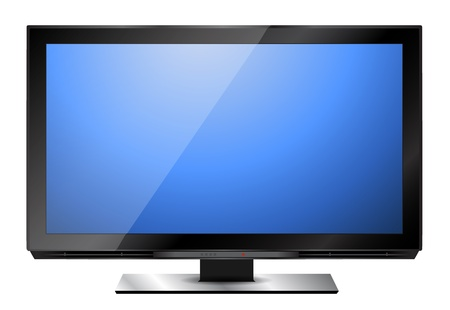 Modern HD television with blue screen Stock Vector - 15689510