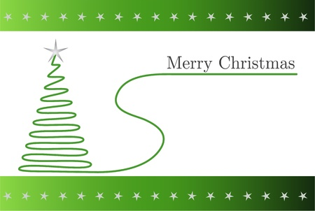 silver christmas: Green christmas card with spiral tree