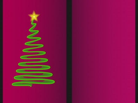 ribon: Spiral christmas tree on pink, purple background