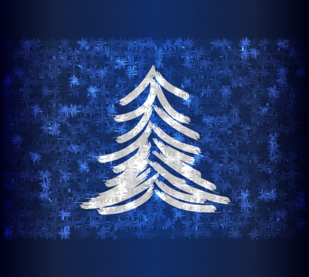 Frozen tree on blue background photo