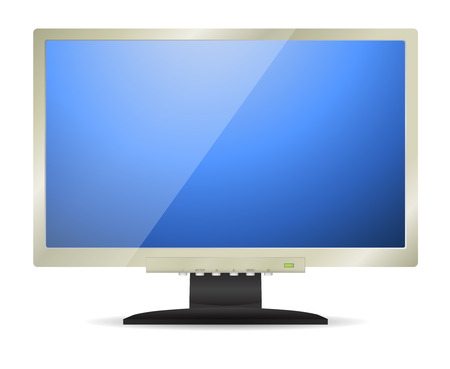 silver screen: Silver monitor with blue screen Illustration