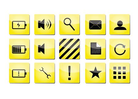 groupe: yellow shiny icons with black symbols Illustration