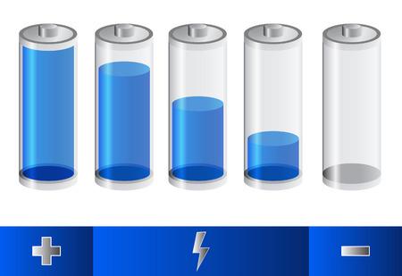 five blue battery status Vector