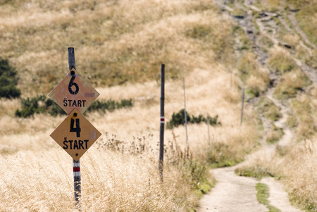 footpath: Marked mountain trail in Mala Fatra Stock Photo
