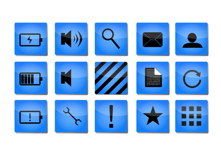 groupe: Blue shiny icons with black symbols