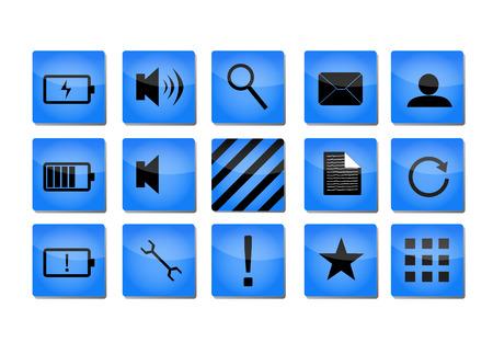 groupe: Blue shiny icons with black symbols