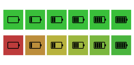 six objects: Battery status icon Illustration