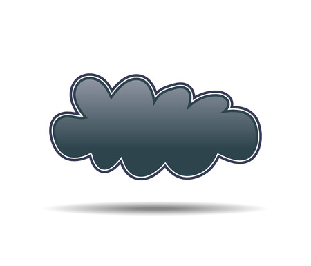 Small black cloud with shadow on white background Illustration