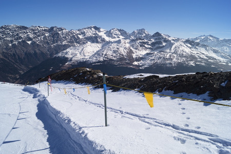 Mountain top panorama view from ski slope, located in Bormio, Italy