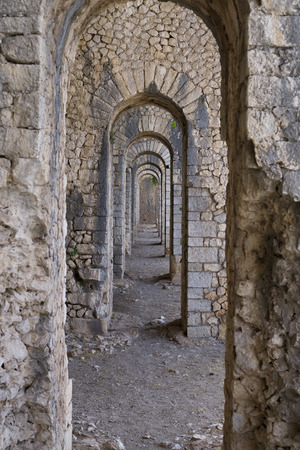 Stone arcs passage and in Temple of Jupiter Anxur in Terracina, Italy