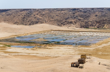 desalination: Traditional sea salt farming in square pools at Angolas Namib Desert coast line.