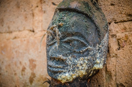 Ancient voodoo fetish sculptures used in this traditional African belief by the local fetish priest, Benin. Stock Photo