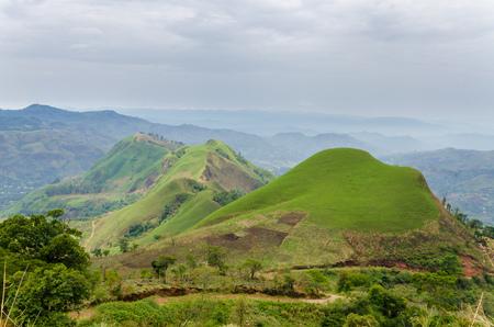 フィールドと環状道路のカメルーン、アフリカの作物を持つ肥沃な丘陵