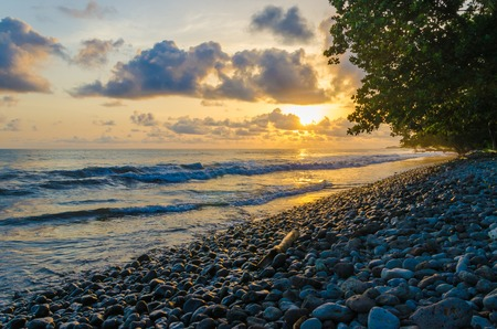 Dramatic coast with rocky volcanic beach, green tree, waves and amazing sunset, Limbe, Cameroon Stock Photo
