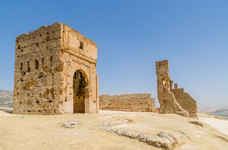 Ruins of ancient Merenid tombs overlooking the arabic city Fez, Morocco, Africa