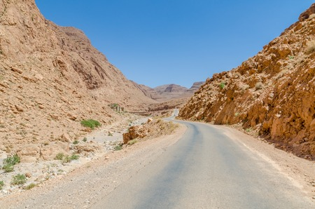 Road through impressive Todra Gorge in the Atlas mountains of Morocco, North Africa Stock Photo - 86440645