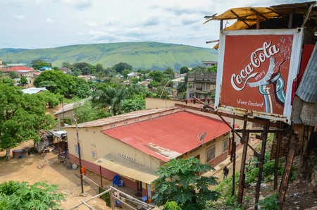 View over the Congolese river town Matadi with buildings and Coca Cola billboard, Democratic Republic of Congo, Africa Editorial