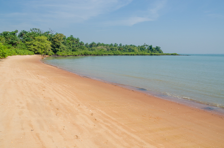 Beautiful deserted tropical beach on Bubaque island, Bijagos archipelago, Guinea Bissau, West Africa Stok Fotoğraf