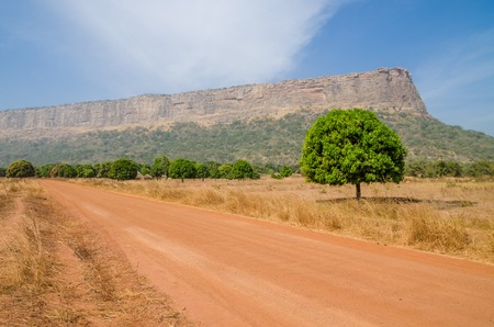 Carretera roja de tierra y grava, árboles individuales y gran montaña plana en la región de Fouta Djalon, Guinea, África Occidental