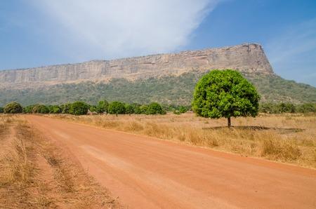 Rote Schmutz- und Schotterstraße, einzelne Bäume und große flache Spitze Berg in Region Fouta Djalon, Guinea, Westafrika