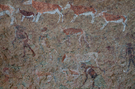 Detailled bushmen or San rock paintings at the White Lady panel, Brandberg, Damaraland, Namibia, Southern Africa