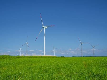 Many wind turbines standing on German field with lush green grass in spring, Nordfriesland, Germany, Europe